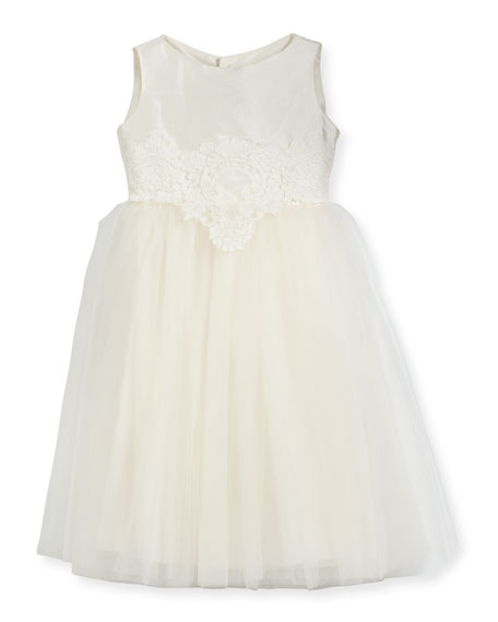 Enchanting Lace-Trim Silk & Tulle Dress, Size 2-3