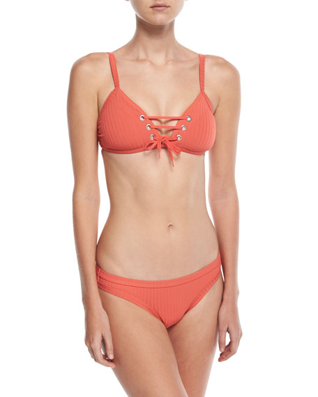 Inka Ribbed Lace-Up Bralette Swim Top