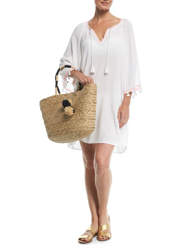 Split-Neck Kaftan Coverup w/ Tassel Ties and Matching Items