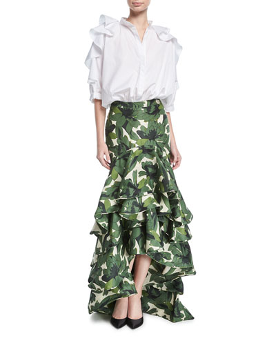 Floral-Print Ruffled High-Waist Maxi Skirt and Matching Items