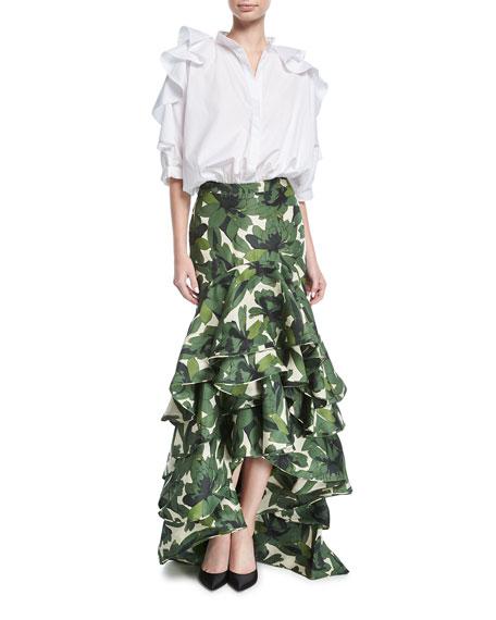 La Penca Ruffled High-Waist Maxi Skirt