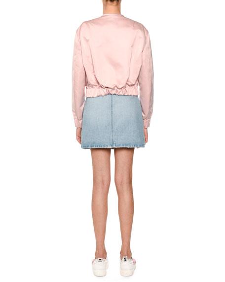 Zip-Front Denim Skirt
