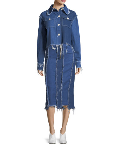 Ashley Frayed Midi Denim Pencil Skirt and Matching Items