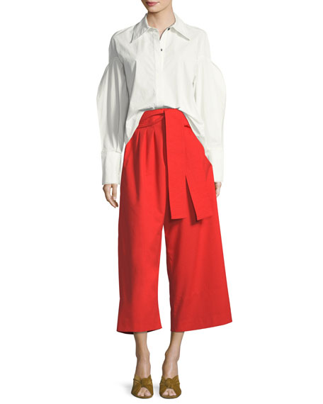 Tate Button-Front Pouf-Sleeves Poplin Shirt