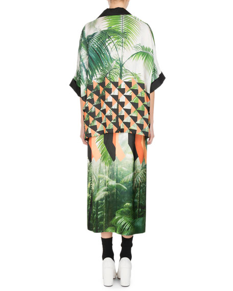 Shens Palm-Print Skirt