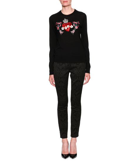 Long-Sleeve Crewneck Sweater with Heart Applique
