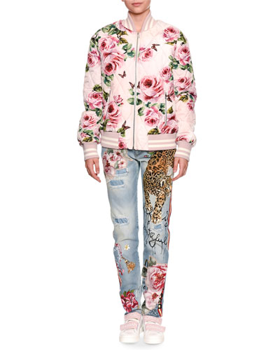 Quilted Rose-Print Bomber Jacket and Matching Items
