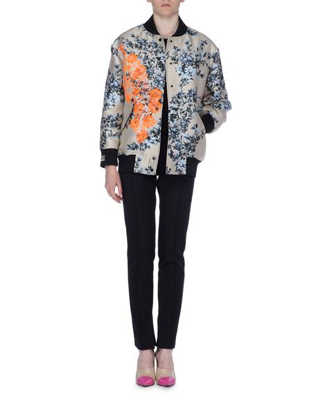 Embroidered Floral-Print Satin Bomber Jacket