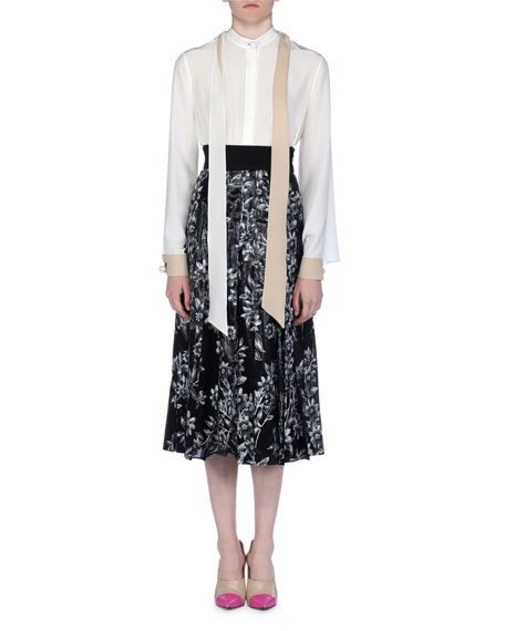 Band-Collar Silk Blouse with Scarf Ties