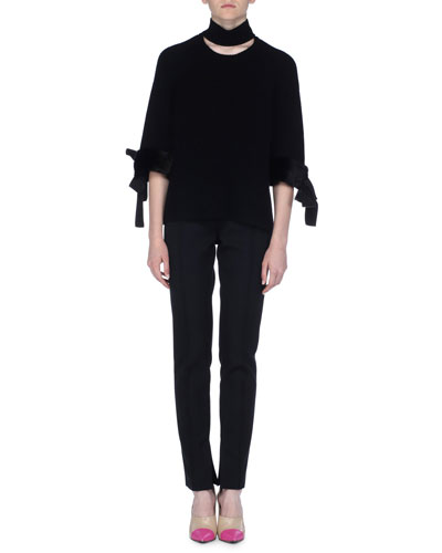 Pleated Gabardine Pants with Knit Waist and Matching Items