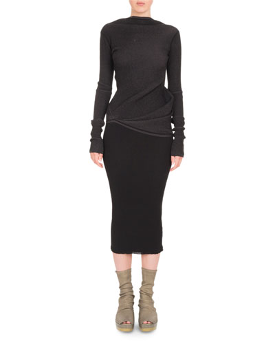 Long-Sleeve Boat-Neck Knit Top and Matching Items