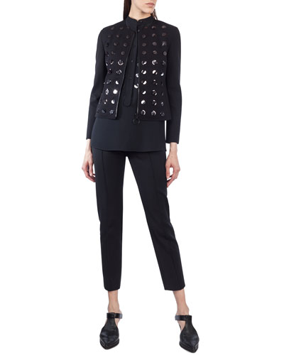 Paillette-Embellished Zip-Front Jacket and Matching Items