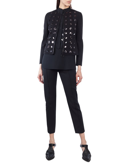 Paillette-Embellished Zip-Front Jacket