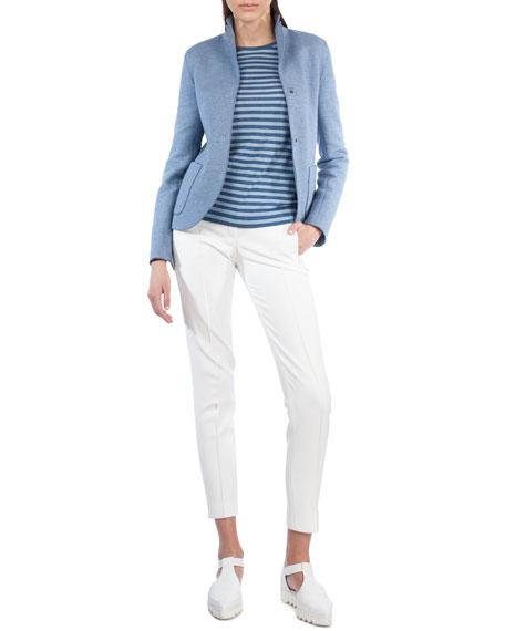 Stand-Collar Two-Button Blazer