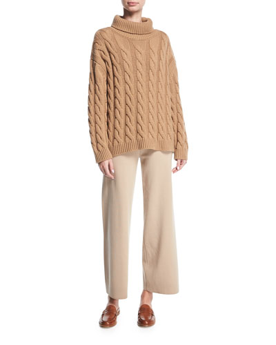 Cable-Knit Cashmere Turtleneck Sweater and Matching Items