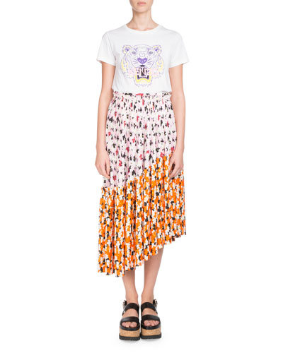 Floral-Print Pleated Midi Skirt with Asymmetric Hem and Matching Items