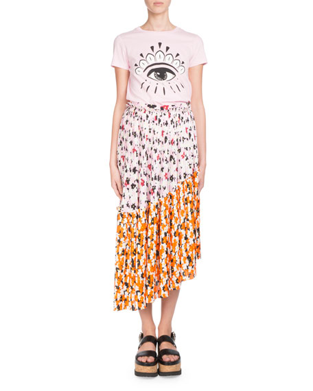 Floral-Print Pleated Midi Skirt with Asymmetric Hem