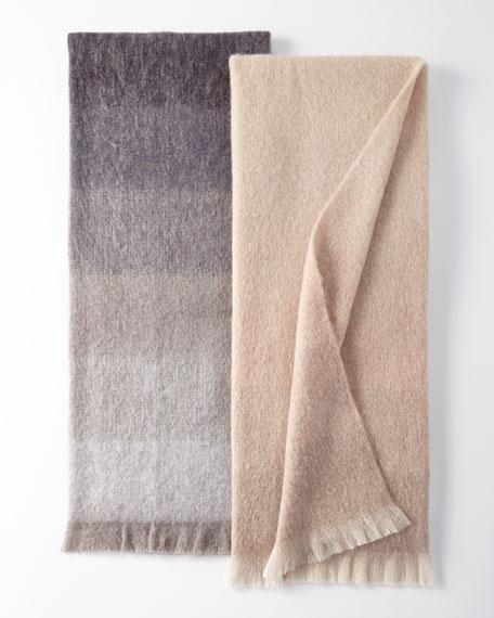 Dip Dyed Mohair Throw Blanket, Beige