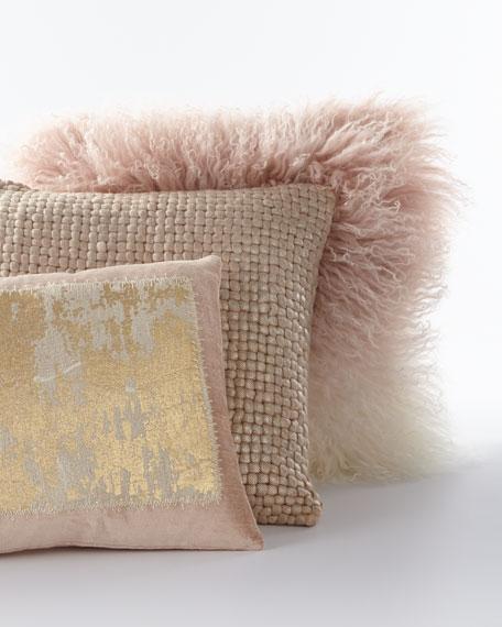 "Distressed Metallic Lace Pillow, 14"" x 20"""