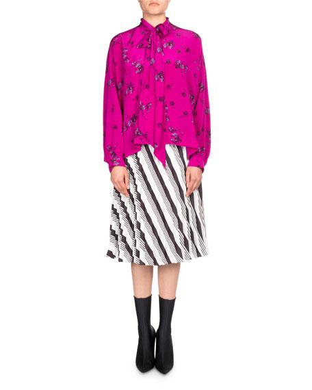 Long-Sleeve Silk Tie-Neck Top