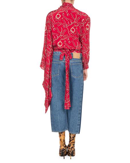 Chain-Print Kimono Wrap Top