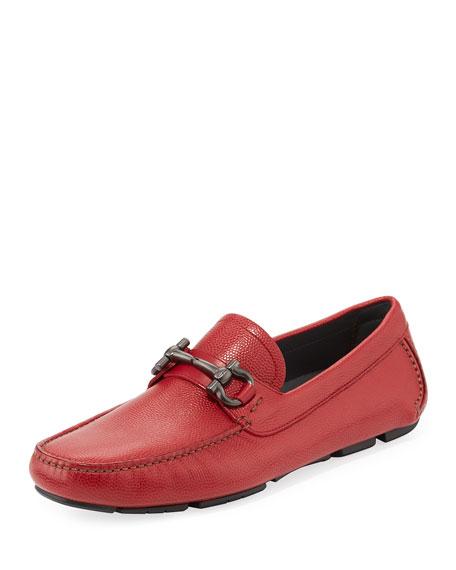 Parigi Leather Gancio-Buckle Belt, Red