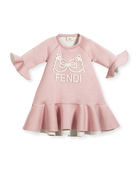 Ruffle-Hem & Bell-Sleeve Logo Dress, Size 10-14
