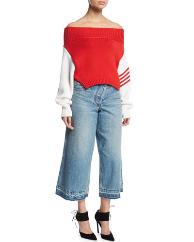 Asymmetric Cropped Wide-Leg Jeans and Matching Items