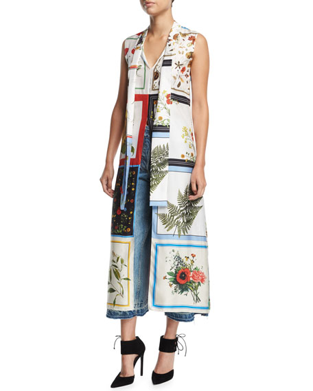Sleeveless Floral Patchwork Scarf Top