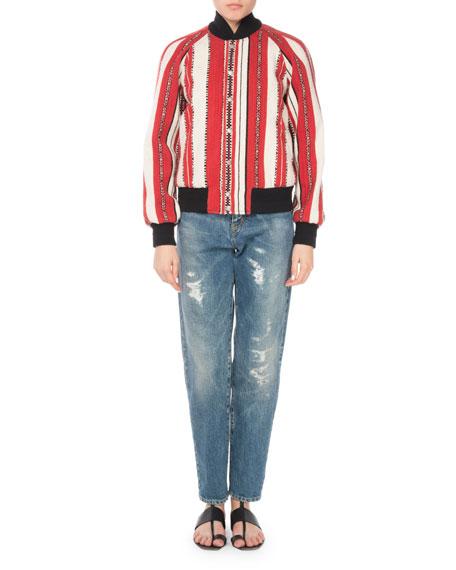 Striped Wool Bomber Jacket