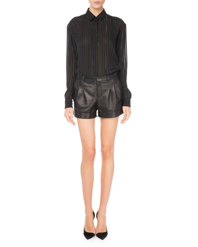 Cuffed Lamb Leather Shorts and Matching Items