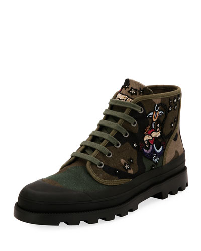 Tattoo Canvas Combat Boot, Green and Matching Items