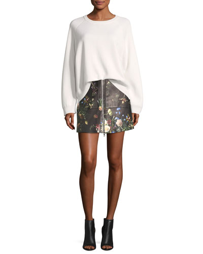 Floral-Print Leather Zip-Front Skirt and Matching Items