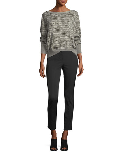 Boat-Neck Jacquard Cashmere Sweater and Matching Items