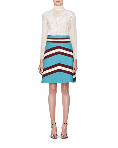 A-Line Crepe Couture Colorblock Skirt and Matching Items