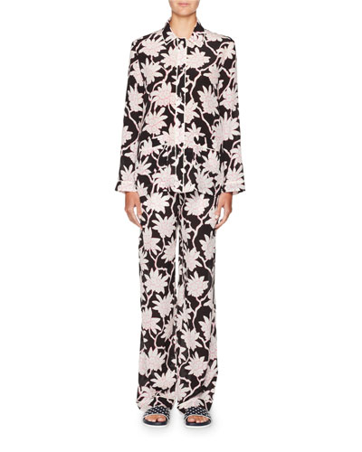 Rhododendron-Print Crepe de Chine Pajama Top and Matching Items