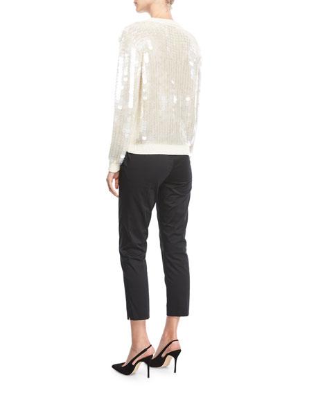 Paillette-Embellished Crewneck Sweater