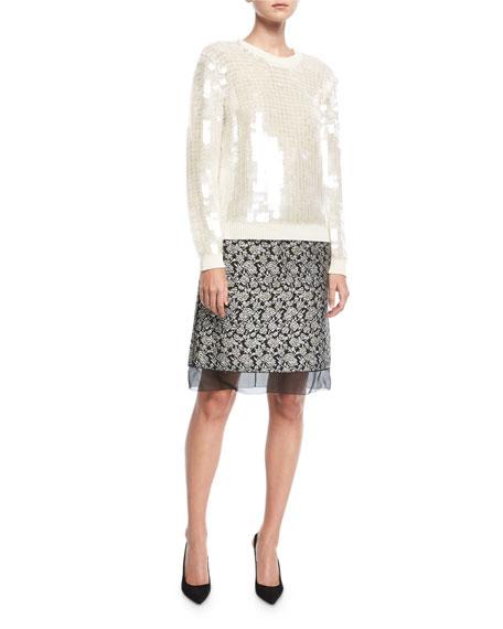 Brocade Tulle-Trim Skirt
