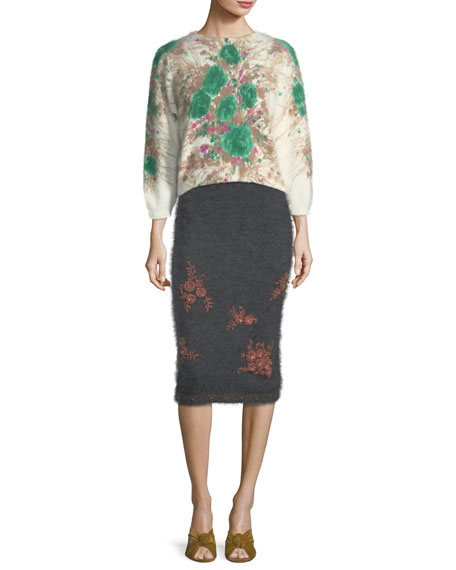 Embroidered Knit Pencil Skirt