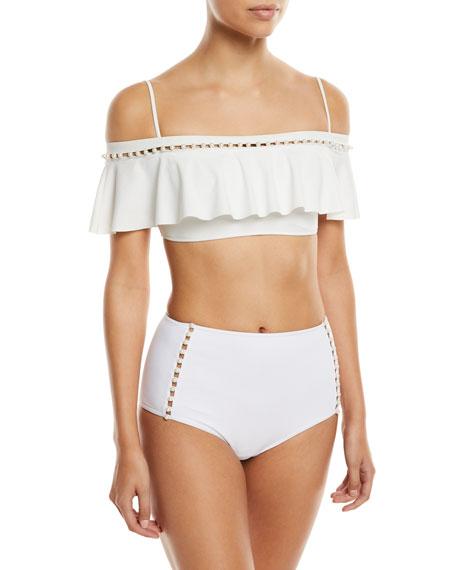 Pearl Studded High-Waist Bikini Swim Bottoms