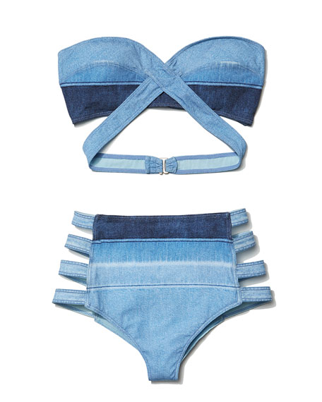 Denim Crisscross Bandeau Swim Top
