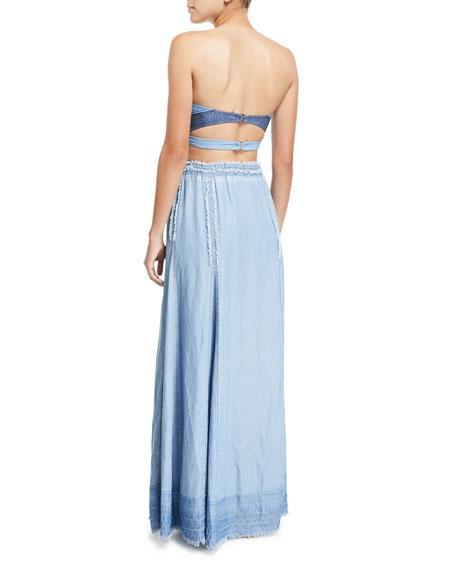 A-line Frayed-Edges Maxi Skirt