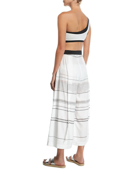 High-Waist Striped Palazzo Coverup Pants