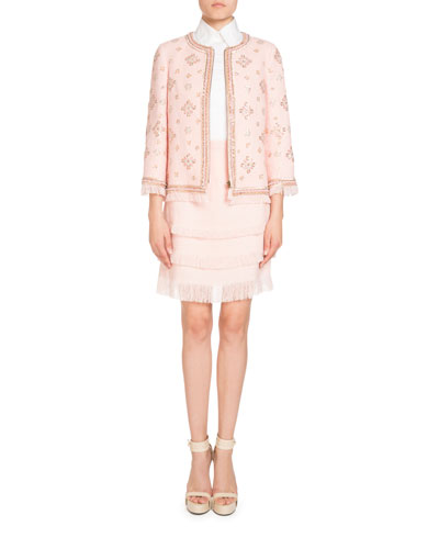 Embroidered Linen Zip-Front Jacket and Matching Items