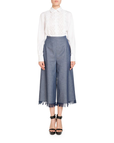 Wide-Leg Fringed Denim Pants and Matching Items