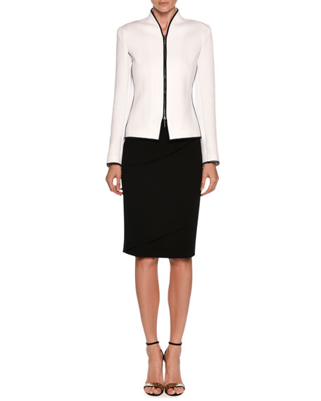 Zip-Front Chevron Jacquard Jacket w/ Contrast Piping