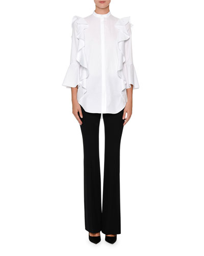 Poplin 3/4-Sleeve Ruffle Button-Down Blouse and Matching Items