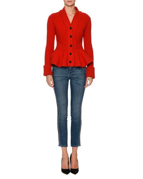 Chunky-Knit Peplum Cardigan Jacket