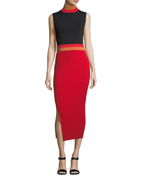 Fitted Side-Slit Rib-Knit Maxi Skirt
