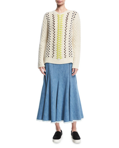 Flared Chevron-Stitch Midi Skirt and Matching Items